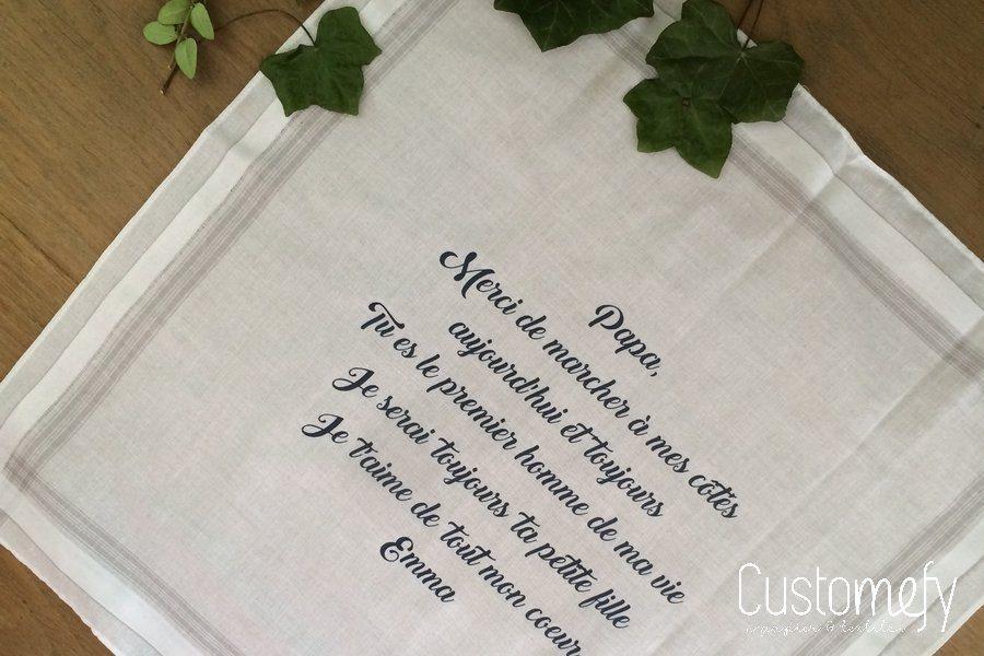 Personnaliser un mouchoir pour sécher des larmes de joie