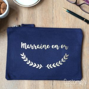 pochette marraine en or