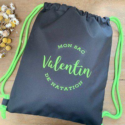 sac de natation personnalisé noir et vert