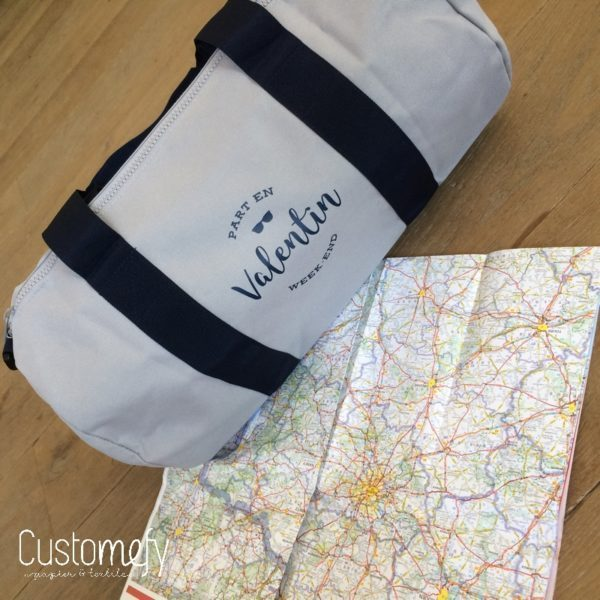 sac polochon standard gris et bleu