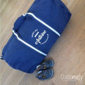 sac polochon vintage personnalisé bleu