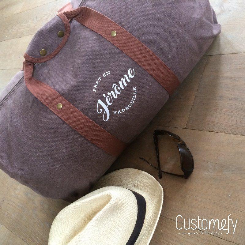 sac polochon vintage personnalisé brun
