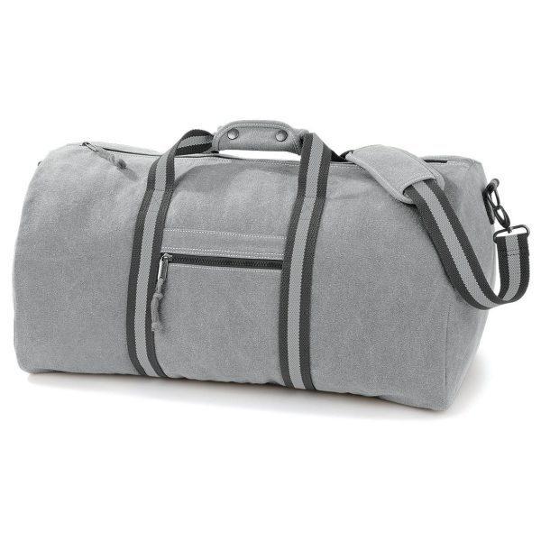 sac polochon vintage personnalisé gris