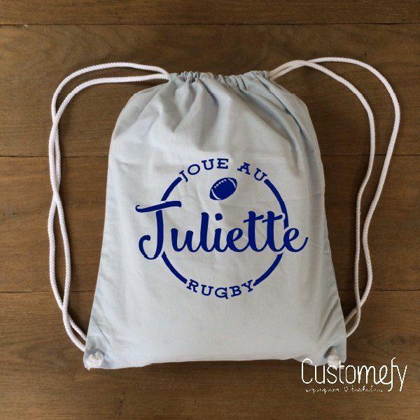 sac de gym personnalisé bleu clair