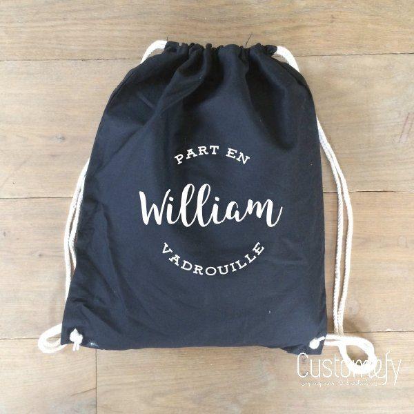 sac de gym personnalisé noir