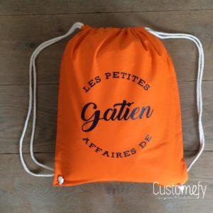sac de gym personnalisé orange