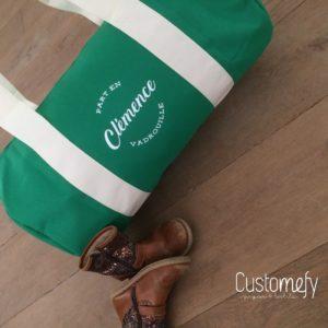 sac de sport personnalisé vert et écru