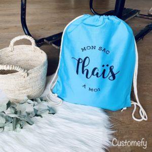 sac de gym personnalisé bleu turquoise