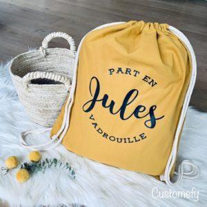 sac de gym personnalisé moutarde