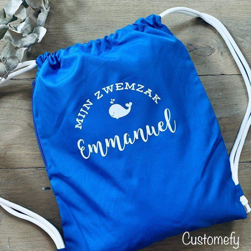 gepersonaliseerde blauwe zwemzak