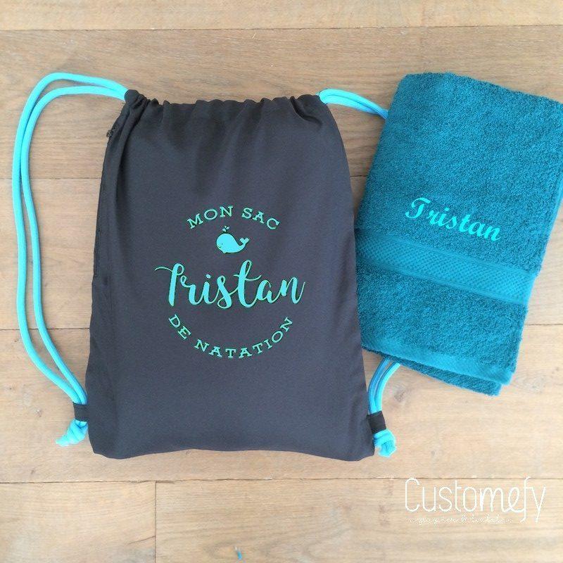 sac de piscine personnalisé noir et bleu