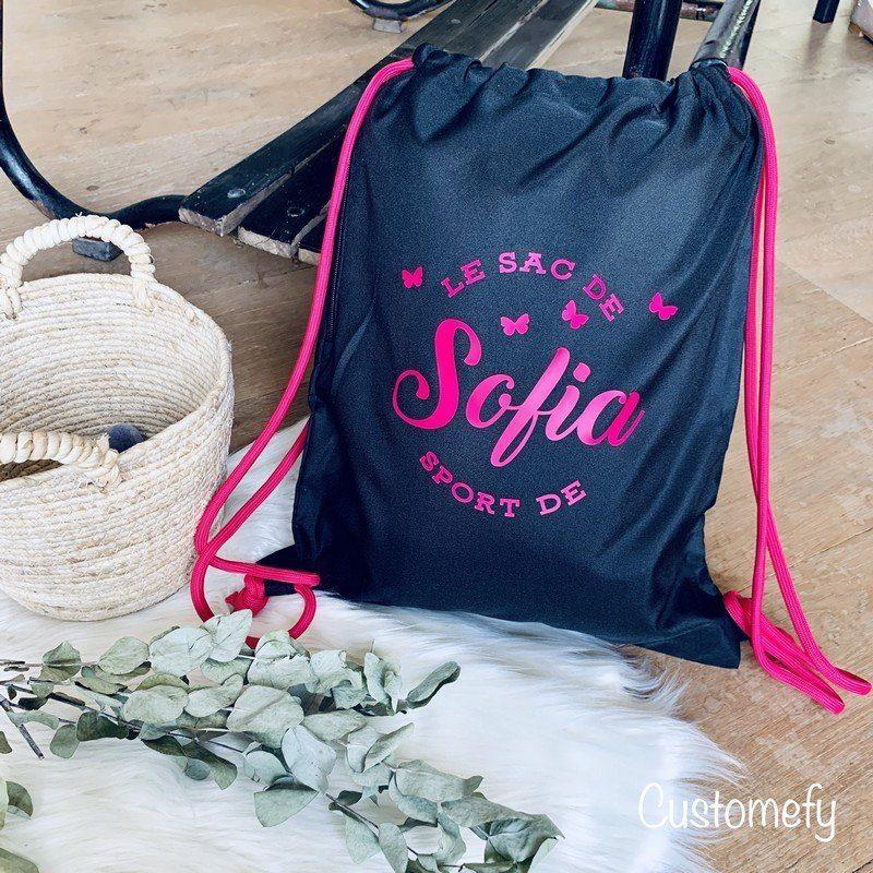 sac de natation personnalisé noir et fushia
