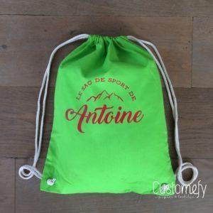 sac de gym personnalisé vert pomme