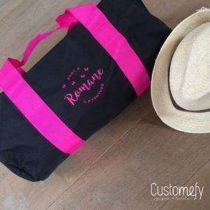 sac polochon personnalisé noir et fushia