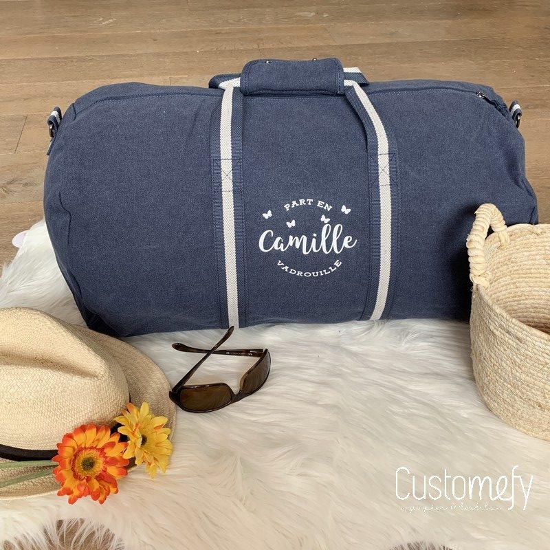 sac polochon vintage bleu