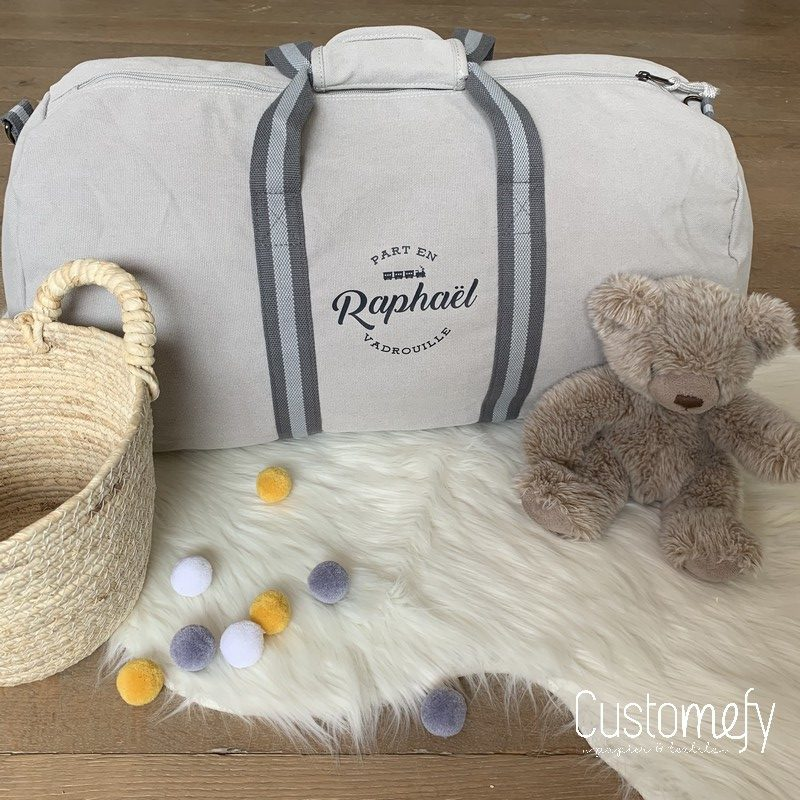 sac polochon gris personnalisé vintage gris
