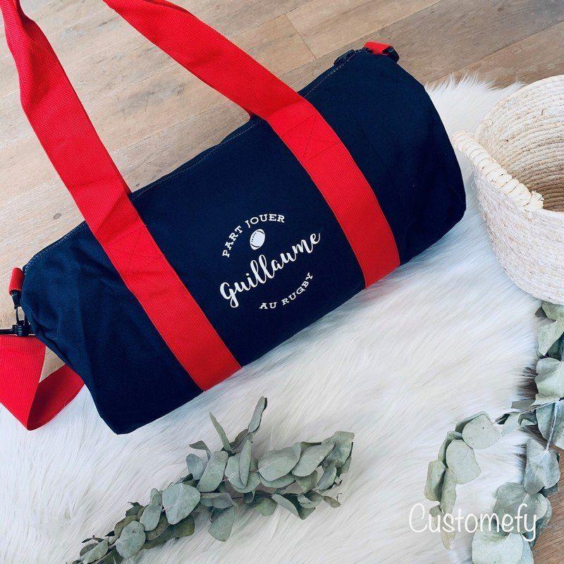 sac polochon personnalisé bleu et rouge