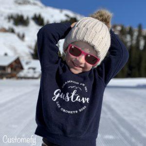 sweat ski enfant personnalisé
