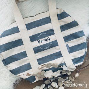 sac polochon personnalisé gris